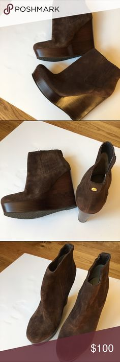 "👠NEW SUEDE WEDGE BOOTIES FROM MICHAEL KORS 👠 NEW brown suede wedge booties from Michael Kors. Slip on, 5"" heel and 1.5"" platform. Super cute with skinny jeans. MICHAEL Michael Kors Shoes Ankle Boots & Booties"