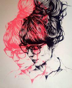 Jasmin dwyer illustration printmaking more portrait art, screen printing ar Art And Illustration, Ink Illustrations, Portrait Illustration, A Level Art, Stencil Graffiti, Ap Art, Linocut Prints, Oeuvre D'art, Art Inspo