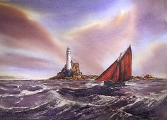 Rounding The Fastnet by Roland Byrne Framed Prints, Canvas Prints, Art Prints, Dublin Ireland, Oil On Canvas, Watercolor Paintings, Greeting Cards, Tapestry, Wall Art