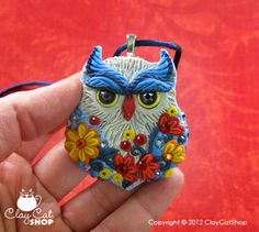 """Blue Jean"" Polymer Clay Owl by Clay Cat Shop"