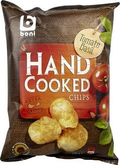 BONI SELECTION chips tomate basilic 125gr Hand #cooked chips Boni Sélection offre des chips de pommes de terre extra crispy au goût de #tomate et #basilic. Les chips de Boni Sélection sont cuit à la main Les saveurs et dégustation sur www.chockies.net