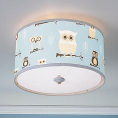 owls drum shade ceiling light this owl drum shade ceiling light will make a fun addition to your home great for a baby nursery kids room playroom baby room lighting ceiling