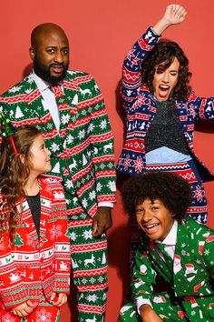 Matching Christmas outfits for family with the Christmas party suits from OppoSuits, Thanksgiving dinner outfits. Looking for a last-minute Christmas outfit DIY? Xmas outfits for kids, women and men. Tacky Christmas Outfit, Ugly Christmas Sweater Suit, Matching Christmas Outfits, Christmas Suit, Kids Christmas Outfits, Christmas Sweaters, Family Christmas, Christmas Party Outfits, Family Photo Outfits