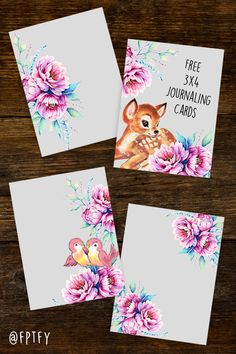 Free Peony Vintage Fawn and Bird 3×4 Journaling Cards