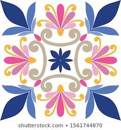 Image vectorielle de stock de Ornament On Italian Tiles Majolica Seamless 1561744870 Pottery Painting Designs, Paint Designs, Islamic Art Pattern, Pattern Art, Folk Art Flowers, Flower Art, Art Floral, Mexican Designs, Barn Quilts