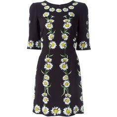 Dolce & Gabbana Daisy Print Dress ($1,995) ❤ liked on Polyvore featuring dresses, black, back zipper dress, daisy dress, dolce gabbana dresses, three quarter sleeve dress and 3/4 sleeve short dress