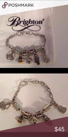 Lovely Brighton Charm Bracelet This is a very nice charm bracelet. It has the peace charm, bee charm, b charm, owl charm and a guitar. With spacers. Lovely for anyone especially if your name starts with a b. Firm on price. Lots of charms. Brighton Jewelry Bracelets