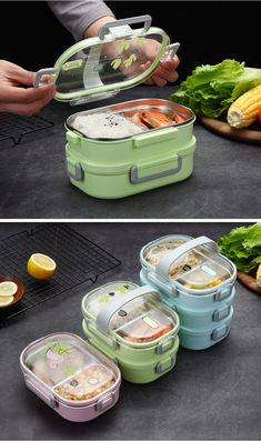 bento box lunch Ecofriendly Lunch box for school, leak proof to take along : Stainless SteelCapacity: / 1 LayerSize: 21 x 15 x School Lunch Box, Bento Box Lunch, Lunch Boxes, Cool Kitchen Gadgets, Cool Kitchens, Cute Food, Yummy Food, Tiffin Box, Lunch Box Containers