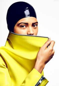 A yellow jacket pops in the fashion feature.