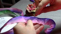 How to make a French Ribbonwork Four Petal Violet Flower ✄ https://www.youtube.com/watch?v=Zq-i-11AQBk