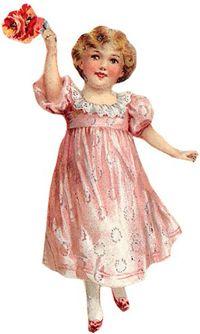 vintage plaatje meisje  www.allesbrocante.nl