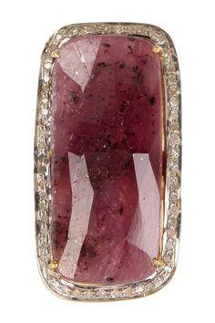 Red sapphire & diamond rectangle ring
