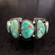 Image result for Old Pawn Vtg Navajo CLUSTER Royston TURQUOISE Sterling Mens Woven Cuff Bracelet