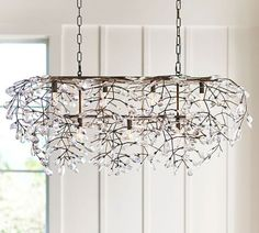 Bella Crystal Rectangular Chandelier for Dining Room Dining Room Light Fixtures, Dining Room Lighting, Kitchen Lighting, Home Lighting, Lighting Ideas, Salon Lighting, Outdoor Lighting, Wood Bead Chandelier, Rectangular Chandelier