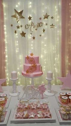 Diy 1st Birthday Decorations, Girl Baby Shower Decorations, Baby Shower Centerpieces, Baby Birthday Cakes, Baby First Birthday, First Birthday Twinkle Little Star, Baby Party, Baby Shower Parties, Star Baby Showers
