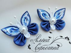 Kanzashi Butterfly Ribbon Sculpture Hair Clip by EllaBellaBowsWI Ribbon Art, Diy Ribbon, Ribbon Crafts, Flower Crafts, Ribbon Bows, Fabric Crafts, Cloth Flowers, Felt Flowers, Diy Flowers