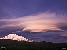 Huge lenticular stacks in the Washington State Cascade Mountain Range