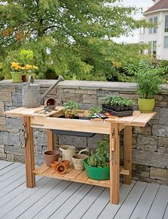 Versatile Cedar Potting Bench for Seed Starting and More