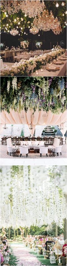 Flower hanging from the ceiling wedding decoration ideas