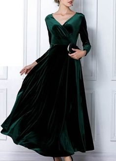 Elegant Long Sleeve V Neck Ankle Length Dress Green
