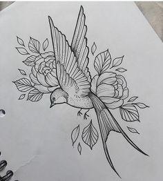 Swallow & Flowers Tattoo by Medusa Lou Tattoo Artist - medusaloux@outlook.com #TattooIdeasFlower #flowertattoos