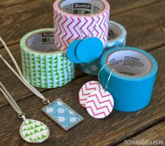 52 Mantels: DIY Colorblock Jewelry {Using Scotch Colors and Patterns Duct Tape!}