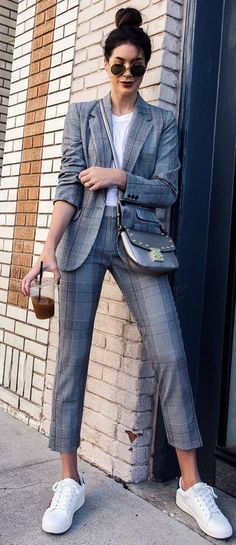 casual office style obsession plaid suit top bag sneakers