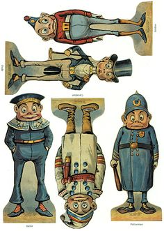 P&P: this could be another option for a printed sheet of paper dolls - a set of figures that can be cut out, with bases so they stand up. The baffled policeman is my favourite. Vintage Paper Dolls, Vintage Toys, Vintage Art, Canson, Old Paper, Vintage Ephemera, Paper Toys, Antique Toys, Old Toys