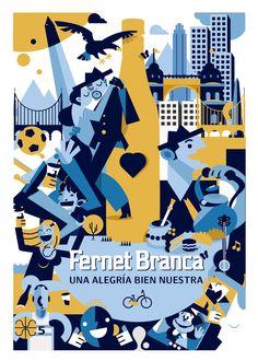 Afiche Fernet Branca by Santiago Gatti, via Behance Vintage Advertising Posters, Vintage Advertisements, Vintage Posters, Vintage Travel, Retro Vintage, Affinity Designer, Poster Ads, Adobe Illustrator, Drawings