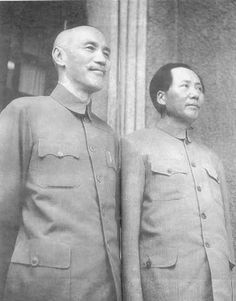 Chaing Kai-Shek (L) and Mao Tse-Tung ® pose for an official photo in the WWII years when both shared the Japanese as a common enemy. After the defeat of Japan, the two men waged a civil war for control of China. Mao's Red Army pushed Chang's KMT out of mainland China to Taiwan.