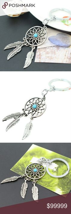 """COMING SOON! ANTIQUE DREAM CATCHER KEYCHAIN All boutique items are 100% brand new in original packaging Beautiful Antique silver feather tassel turquoise dream catcher keychain Metal Material: Silver plated zinc alloy Dream catcher size-2.36"""" x 0.98"""" approx Ring size-1.1"""" approx Accessories"""