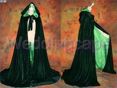 Green Velvet Satin Hooded Cloaks Medieval Wedding Capes Halloween Costumes Wicca Robe Stock Size S M L XL XXL
