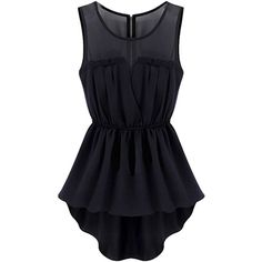 Choies Black Sheer Insert Hi Lo Skater Dress ($9.90) ❤ liked on Polyvore featuring dresses, dance, tops, black, mullet dress, black skater dress, high low dresses, see through black dress and see through dress