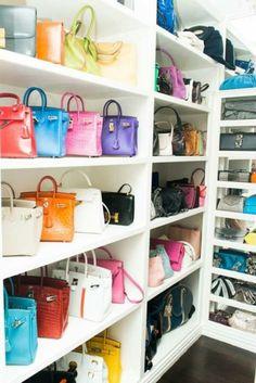 Tina Craig, a. The Bag Snob (I don& think I& seen so many Hermes outside a store. Bag Closet, Closet Space, Walk In Wardrobe, Walk In Closet, Luxury Wardrobe, Ideas De Closets, Closet Ideas, Handbag Storage, Handbag Display