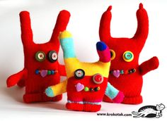 Glove MONSTERS:  made from orphan gloves in just a few minutes. These are cute enough to sacrifice a whole pair of gloves!