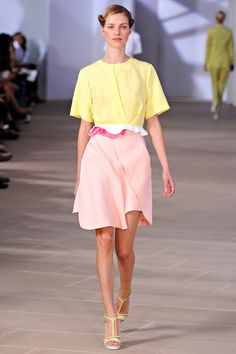 A pastel palette took over the Spring runways, this was one of our fav looks from Preen.