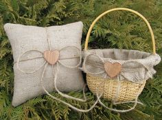 Rustic Flower Girl Basket and Ring Bearer Pillow - Personalized For Your Special Day