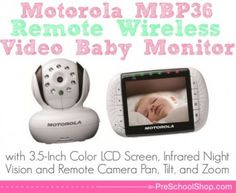 Motorola MDP36 Remote Wireless Video Baby Monitor - Always keep an eye on your baby while they sleep or play up to 200 meters away to know their safe and sound with this high tech baby monitor which also includes data encryption for added security and peace of mind.  www.preschoolshop.com/nursery/baby-monitors/motorola-mbp36-remote-wireless-video-baby-monitor/