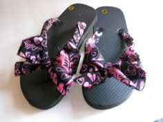 Black Pink Decorated Flip Flops