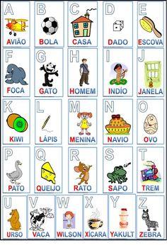 Alfabeto Colorido - gostei que esse tem Kiwi e Yakult