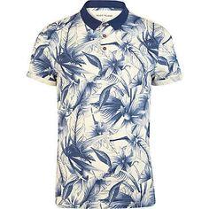 Street Style Market — Blue floral print polo shirt  cfbcd6f252476