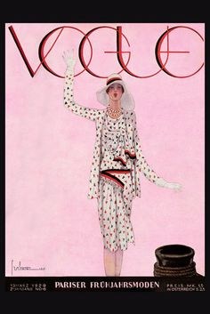 Illustrated German Vogue cover. Lady in low waist dress with matching jacket, waving. (Mar 1929)