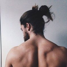 """""""freckles on my shoulders are all that is left of this past summer. Man Bun Hairstyles, Braided Ponytail, Beautiful Long Hair, Bearded Men, Freckles, Hair Goals, Character Inspiration, Brown Hair, How To Look Better"""