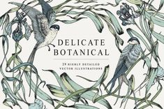 Delicate Botanical Collection by Feanne on This elegant botanical art collection features original illustrations of delicately swaying grains, grasses, irises, crocuses, and swallow birds. Pencil Illustration, Botanical Illustration, Digital Illustration, Art Deco Flowers, Art Drawings For Kids, Creative Sketches, Botanical Art, Watercolor And Ink, Graphic Design Inspiration