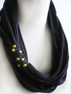 Black Tshirt Scarf Necklace Embelished Beaded by IskraAccessories, $17.00