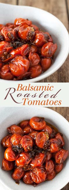 Garlic and Balsamic Grape Tomatoes - Slightly sweet and totally savory, these are one of my favorite foods! Full recipe at Healthy Side Dishes, Side Dish Recipes, Vegetable Recipes, Vegetarian Recipes, Healthy Recipes, Chicken Recipes, Clean Eating Recipes, Healthy Eating, Cooking Recipes