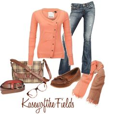 Loving this for fall. The coral sweater paired with brown is fabulous.