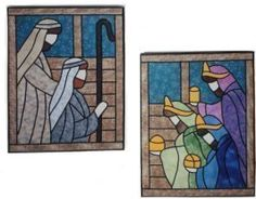 Wisemen & Shepherds Stained Glass Quilt Pattern - The Virginia Quilter (could adapt to a stained glass pattern) Stained Glass Quilt, Stained Glass Designs, Stained Glass Projects, Stained Glass Patterns, Christmas Nativity Scene, Christmas Crafts, Nativity Sets, Christmas Applique, Christmas Quilting