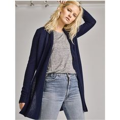 White + Warren Essential Cashmere Trapeze Cardigan ($240) ❤ liked on Polyvore featuring tops, cardigans, blue, knitwear, blue top, blue cardigan, cashmere top, blue cashmere cardigan and twist top