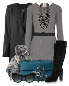 """""""Sweater Dress with Gucci Bag & Boots"""" by brendariley-1 ❤ liked on Polyvore featuring DKNY, Alexander Wang, Valentino, Gucci, Jimmy Choo, Ralph Lauren and Rosantica"""